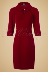 Hearts & Roses Velvet Pencil Dress in Burgundy 100 20 22737 20171009 0005w