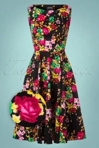 Hearts & Roses Black Multi Flower Swing Dress 102 14 22773 20171010 0008wv