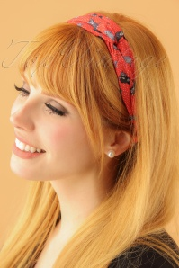 50s Turban Style Cat Head Band in Red