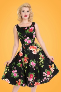 50s Classical Floral Swing Dress in Black