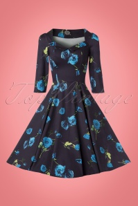 Hearts & Roses Black and Blue Roses Swing Dress 102 14 22770 20171010 0013w
