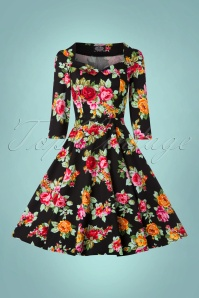 Hearts & Roses Black Multi Floral Print Dress 102 14 22771 20171010 0012w