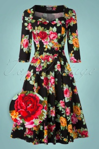 Hearts & Roses Black Multi Floral Print Dress 102 14 22771 20171010 0007wv