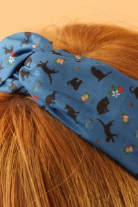 Lindy Bop Teal Cat Print headband 208 39 23339model02