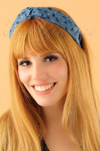Lindy Bop Teal Cat Print headband 208 39 23339model01W