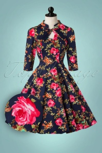 50s Autumn Afternoon Swing Dress in Blue