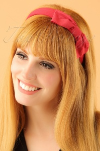 50s Bow Head Band in Red