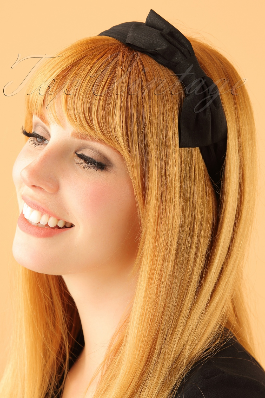 Vintage Hair Accessories: Combs, Headbands, Flowers, Scarf, Wigs 50s Bow Head Band in Black £6.18 AT vintagedancer.com