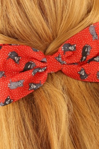 Lindy Bop Red Cat Bow Hairclip 208 27 23335model02