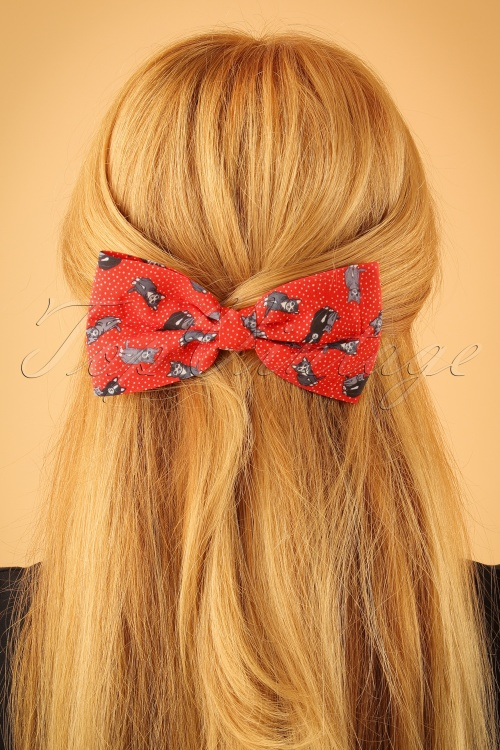 Lindy Bop Red Cat Bow Hairclip 208 27 23335model01W