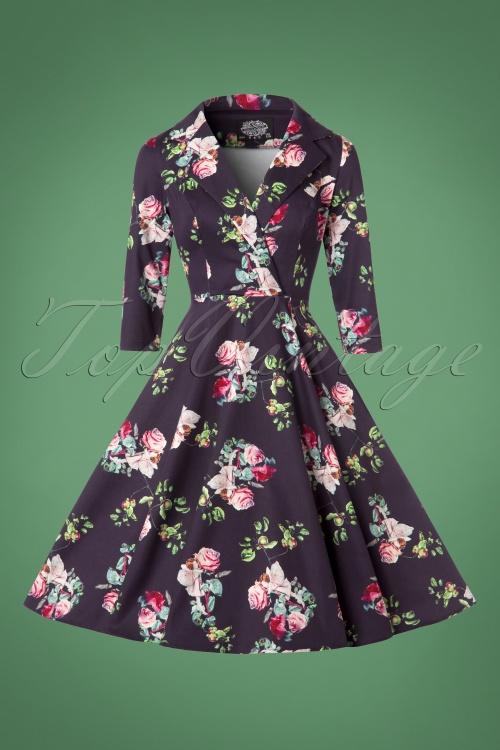 50s Marietta Swing Dress in Purple