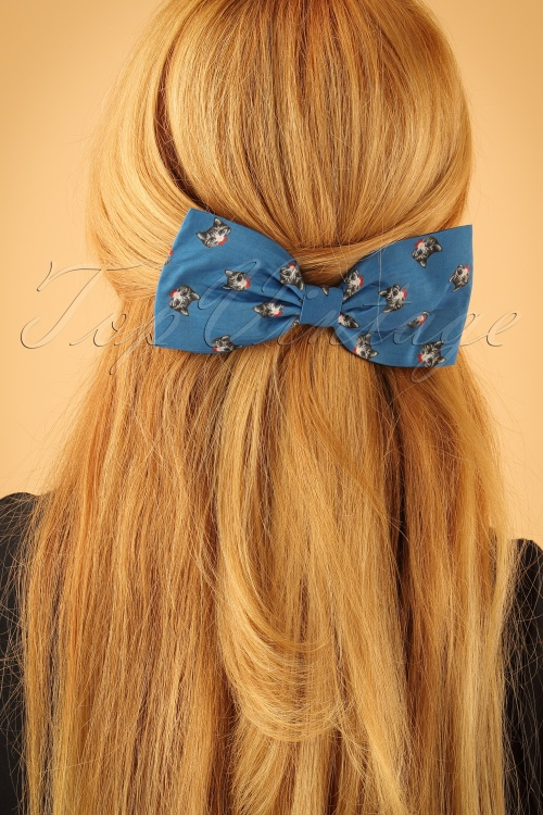 Lindy Bop Blue Cat bow Hairclip 208 39 23334model01W