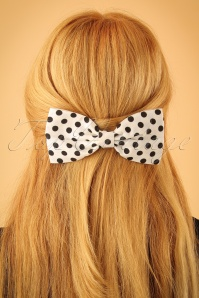 50s Polka Dot Hair Bow in White