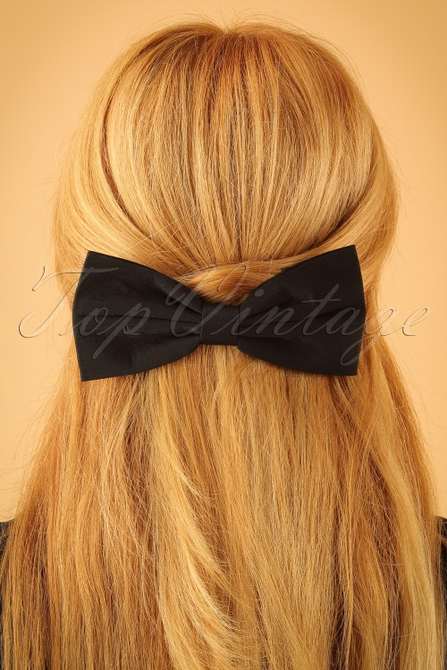 Lindy Bop Black Bow Hairclip 208 10 23332 model01Wjpg