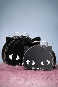 Lucky the Black Cat Suitcases Années 60