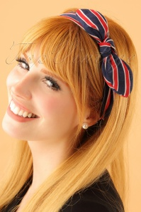 50s Striped Headband in Navy and Red