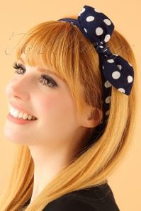 50s Polkadot Headband in Navy