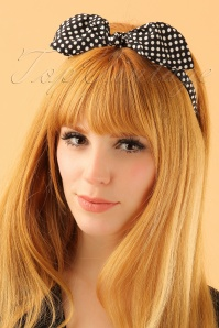 50s Bow Polkadot Head Band in Black