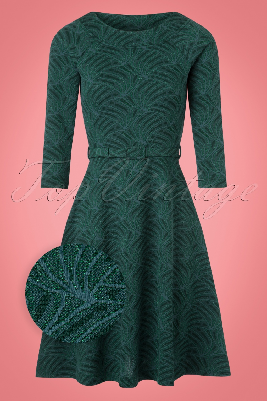 1960s Fashion: What Did Women Wear? 60s Vena Skater Dress in Dragonfly Green £102.28 AT vintagedancer.com