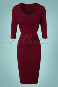 Vintage Chic Sweet Heart Wine Red Pencil Dress 100 20 19626 20161031 0011W