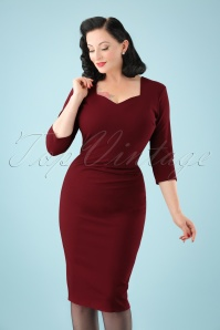 50s Cilia Pencil Dress in Burgundy