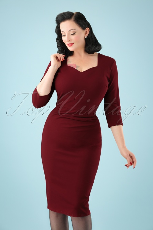 Vintage Chic Sweet Heart Wine Red Pencil Dress 100 20 19626 20161031 0011 (2)W