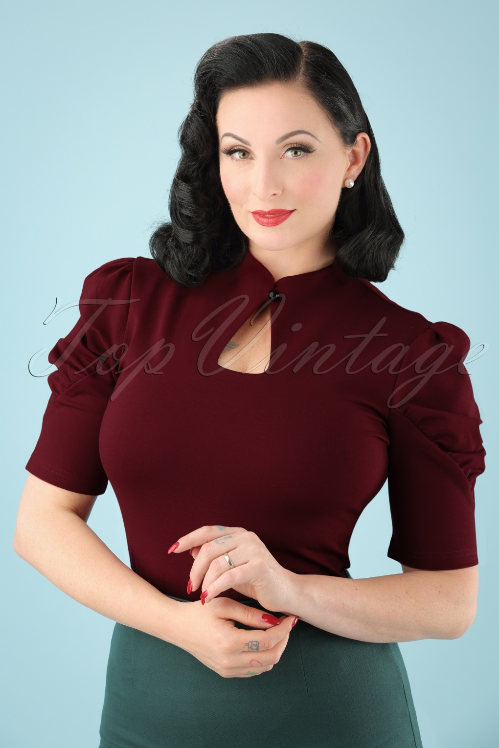 60s Shirts, Tops, Blouses | 70s Shirts, Blouses 50s Dita Keyhole Top in Burgundy £26.62 AT vintagedancer.com