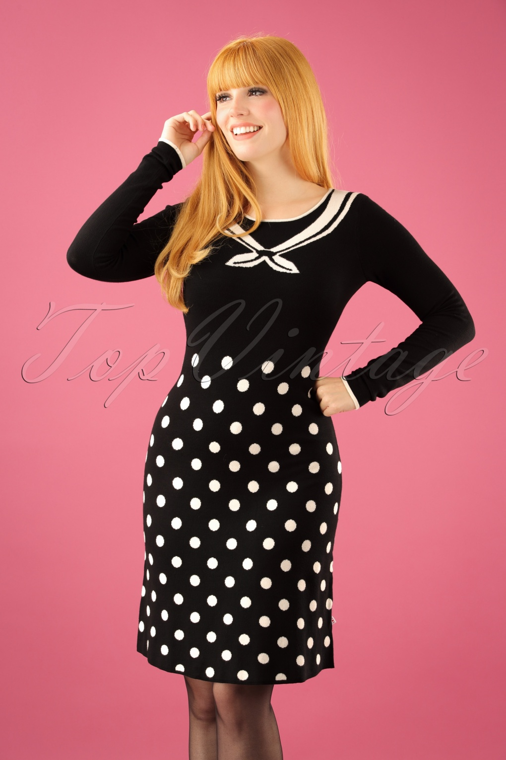 500 Vintage Style Dresses for Sale 60s Three Wishes Dress in Pearls of Snow Black £88.94 AT vintagedancer.com