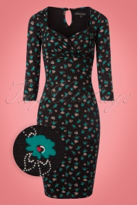 King Louie Perry Dress in Black with Blue Flowers 100 14 21407 20171011 0002wv
