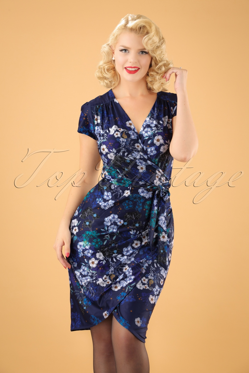 Vintage Inspired Cocktail Dresses, Party Dresses 60s Botanical Stardust Wrap Dress in Navy £75.59 AT vintagedancer.com