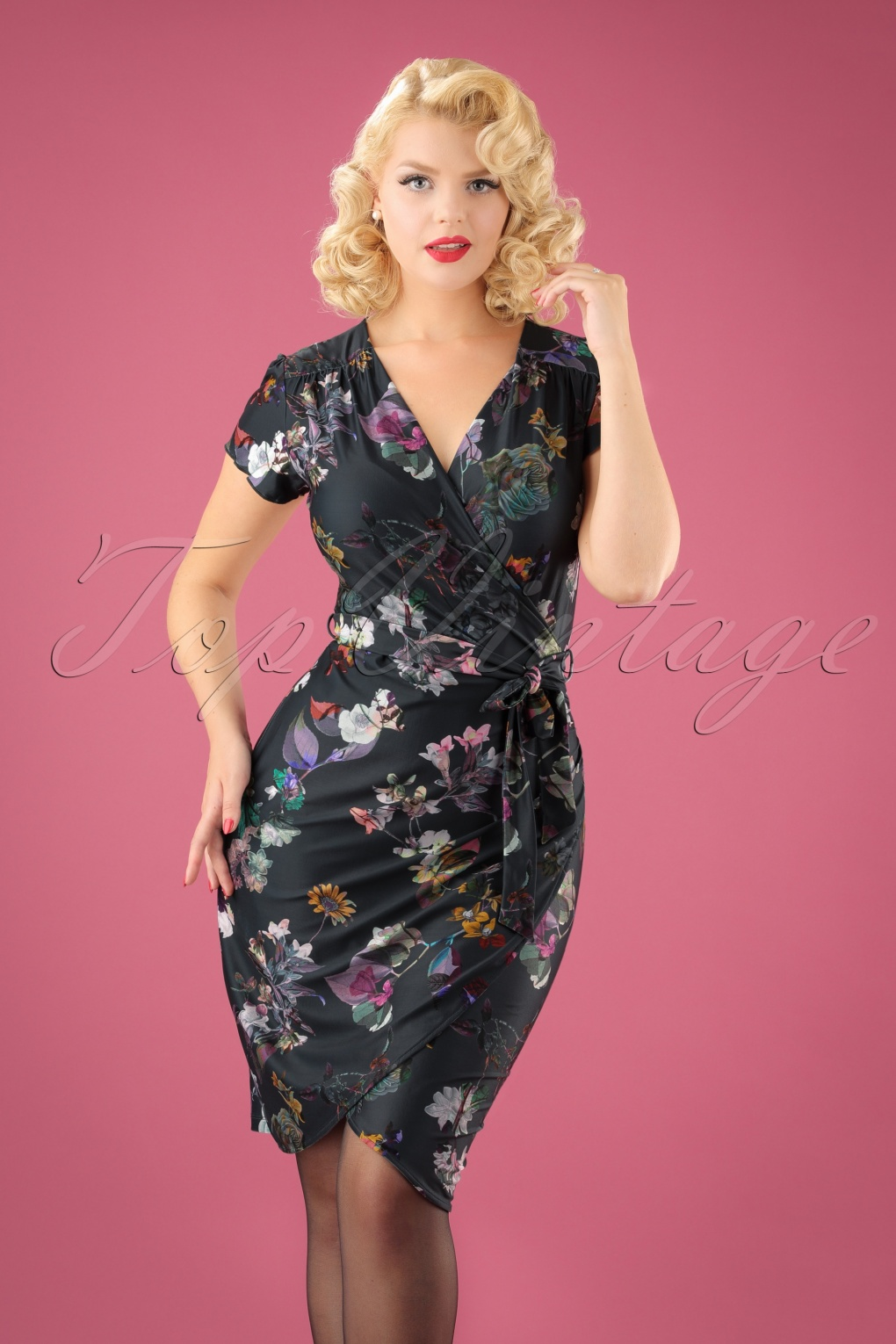 Vintage Inspired Cocktail Dresses, Party Dresses 60s Digital Snowdrop Wrap Dress in Dark Grey £80.04 AT vintagedancer.com