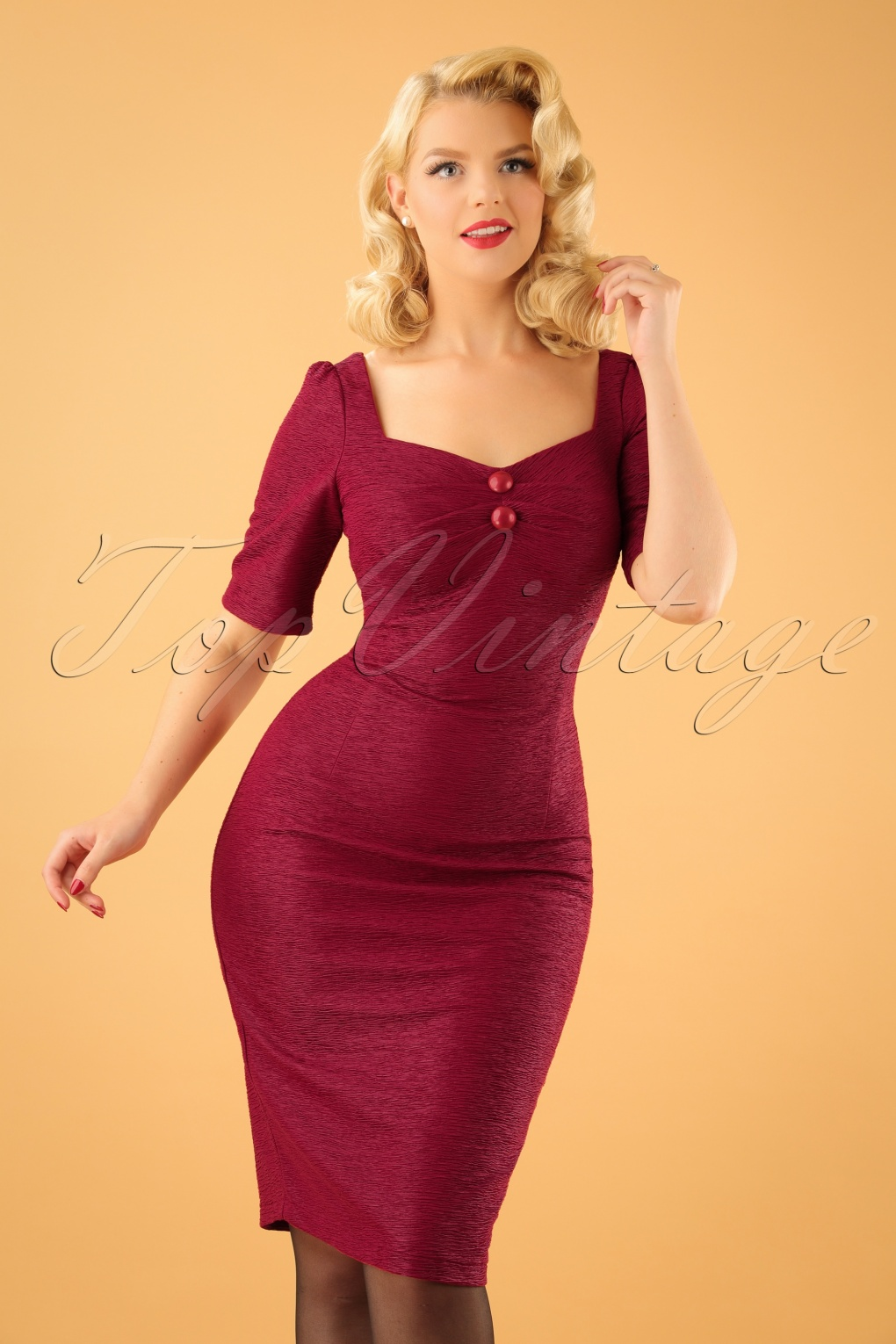50s Dolores Retro Pencil Dress In Burgundy