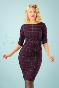 Banned Carlita Purple Check Pencil Dress 100 27 22357 2