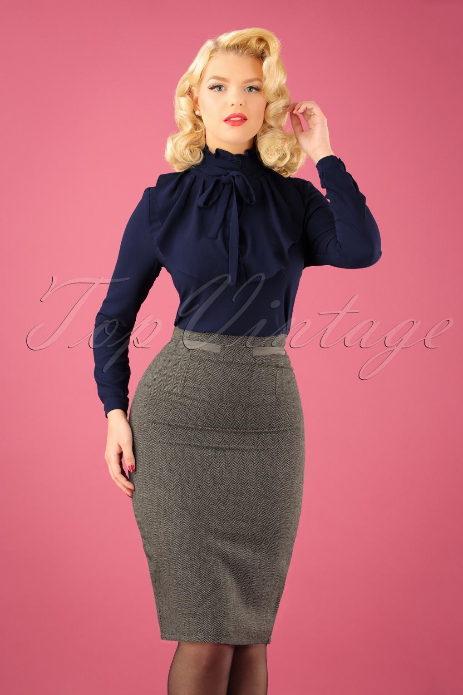 50s Izzy Pencil Skirt in Grey