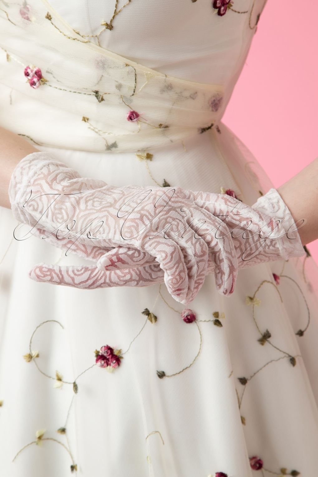 Vintage Style Gloves- Long, Wrist, Evening, Day, Leather, Lace 50s Rosy Romantic White Lace Gloves £22.22 AT vintagedancer.com