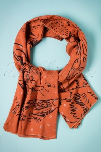Birds on the Run Cute Cat Drawing Scarf Années 70 en Rouille