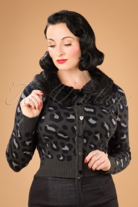 Collectif Clothing Pietra Leopard Cardigan in Coal 21769 20170607 01W