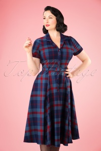 50s Caterina Merida Check Swing Dress in Blue and Red
