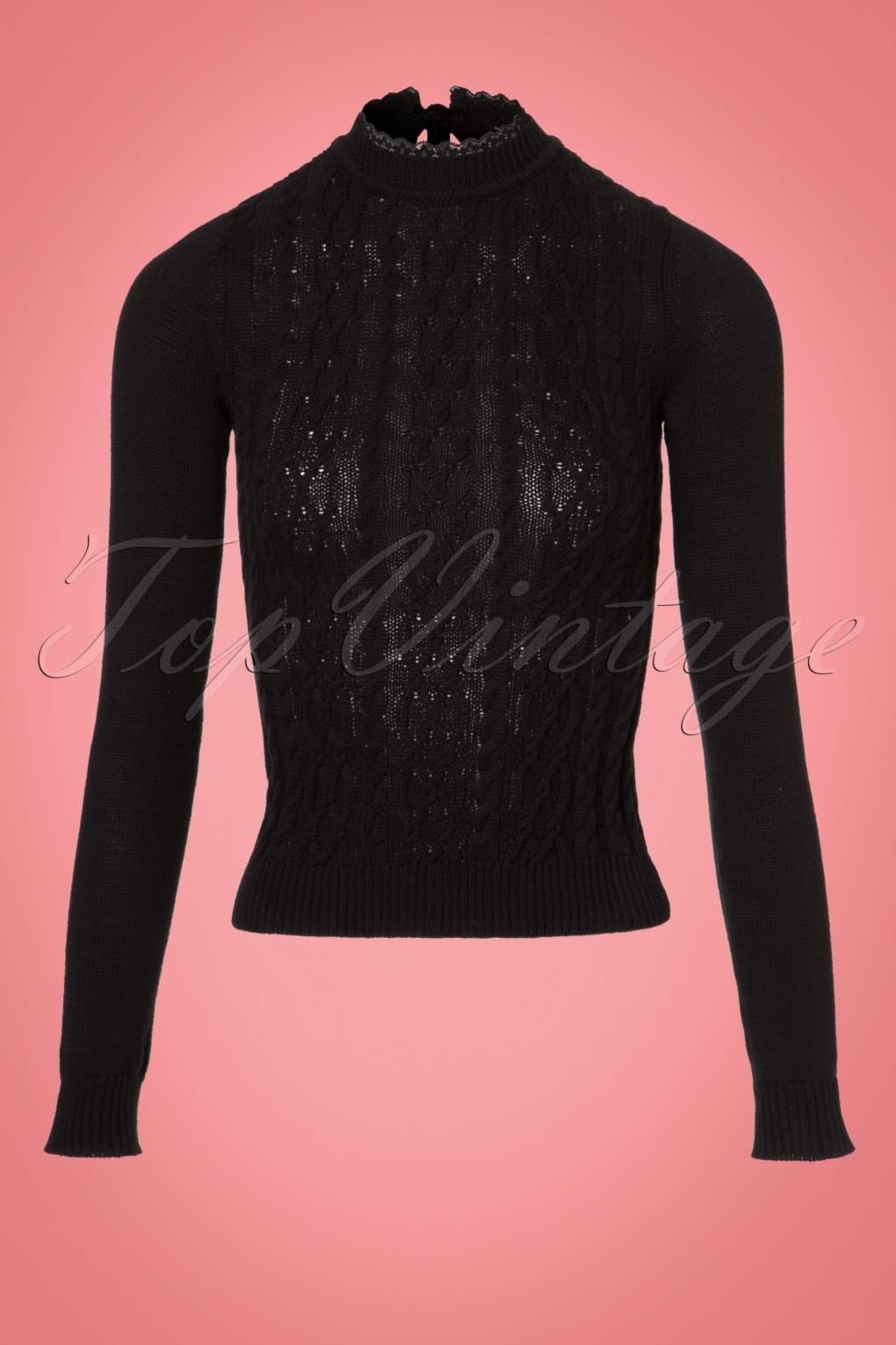 Vintage Sweaters: Cable Knit, Fair Isle Cardigans & Sweaters 60s Kat Knitted Jumper in Black £39.95 AT vintagedancer.com