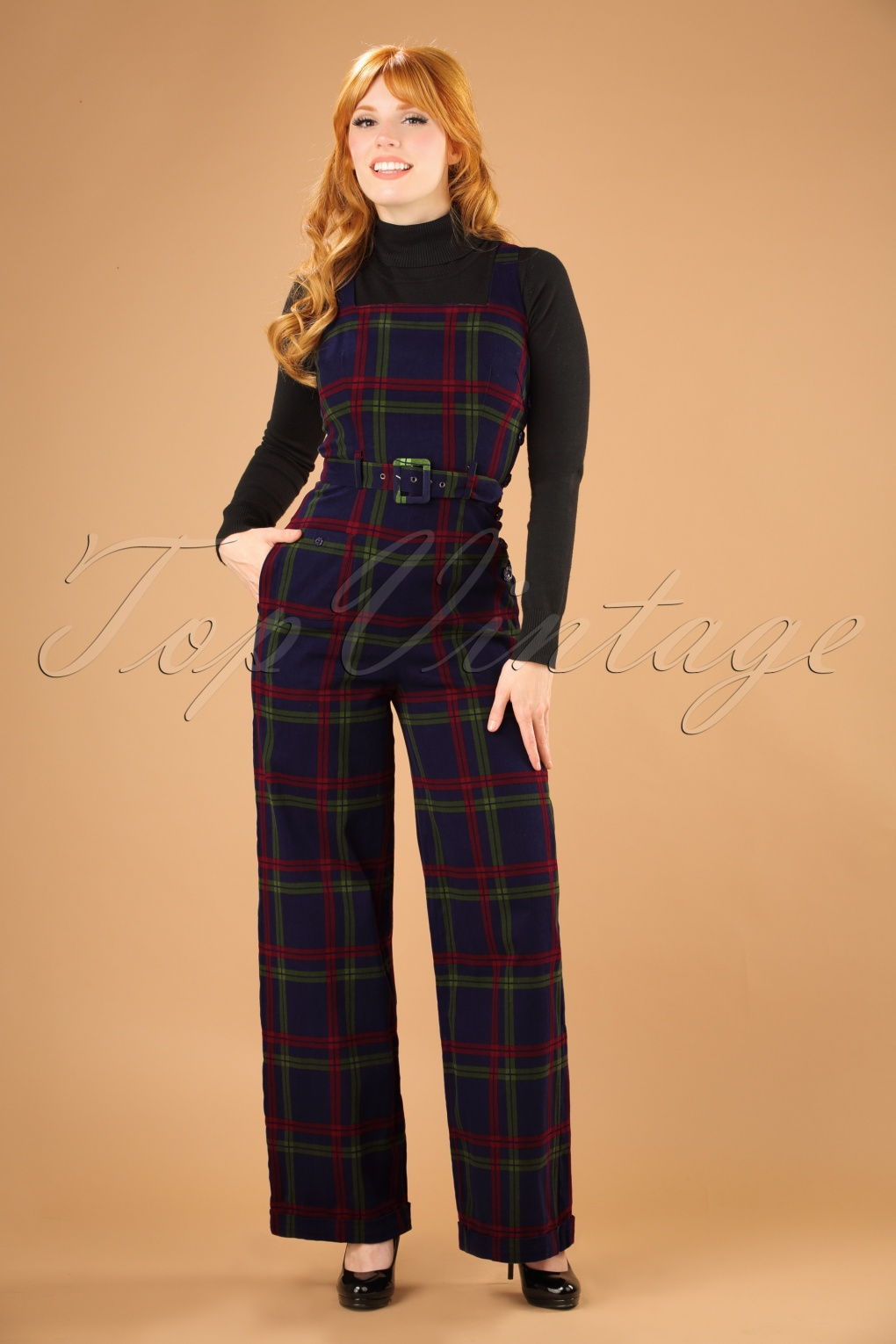 Vintage High Waisted Trousers, Sailor Pants, Jeans 40s Gertrude Darling Check Overalls in Navy £76.38 AT vintagedancer.com