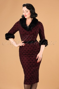 50s Patrice Brocade Pencil Dress in Wine