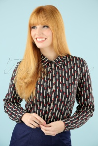 60s Honey Lipstick Blouse in Navy