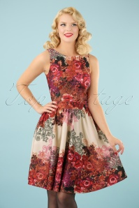 50s Red Rose Floral Tea Dress in Cream