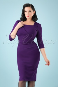 50s Rhonda Pleated Pencil Dress in Purple