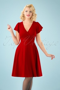 40s Ruby Butterfly Sleeve Swing Dress in Red