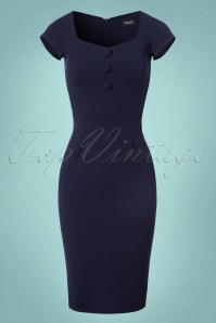 Vintage Chic Scuba Crepe Blue Pencil Dress 100 31 22482 20170913 0001W