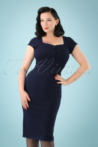 Vintage Chic Scuba Crepe Blue Pencil Dress 100 31 22482 20170913 0001 (2)W