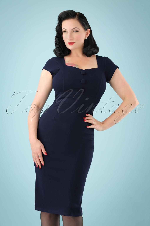 50s Sandy Sweet Heart Pencil Dress in Navy