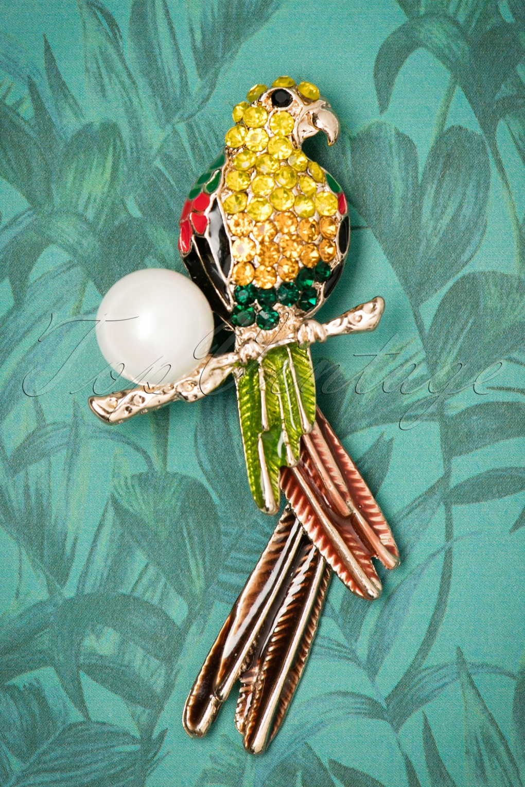 1960s Costume Jewelry – 1960s Style Jewelry 60s Pretty Polly Parrot Brooch in Gold £10.74 AT vintagedancer.com