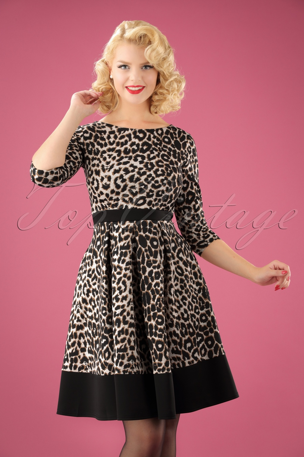 50s Suzy Swing Dress In Leopard